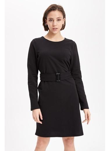 DeFacto Uzun Kollu Slim Fit Kemerli Elbise Siyah